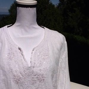 JM Collection Tops - JM Collection (Macy's) linen boho peasant top